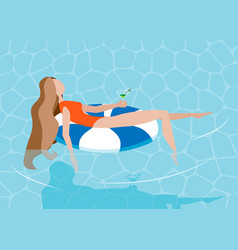 young long-haired girl sunbath on ring in the vector image