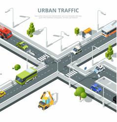 city crossroad of urban traffic vector image vector image