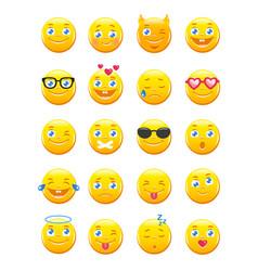 cute cartoon emoticons emoji icons set vector image vector image