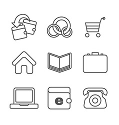E-commerce thin line icons set vector