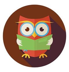 Flat Wisdom Bird Owl Reading Book Circle Icon with vector image vector image