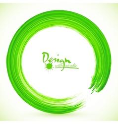 Green paintbrush circle frame vector image vector image