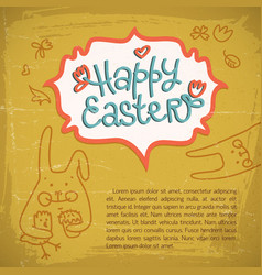 happy easter doodle card vector image vector image