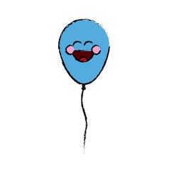 kawaii blue cute balloon decoration party vector image