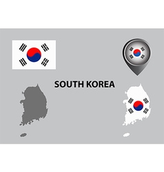 Map of South Korea and symbol vector image vector image