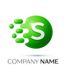 S letter splash logo green dots and circle bubble vector