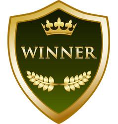 winner gold shield icon vector image vector image