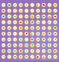100 service icons set in cartoon style vector image