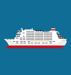 big spacious white cruise liner isolated cartoon vector image