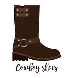 cowboy shoes icon with text vector image