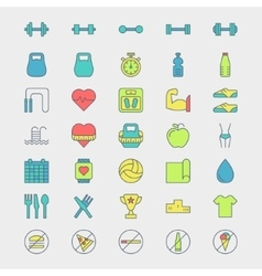 Fitness and sport icons vector image vector image