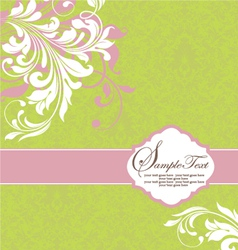 green with white floral elements vector image