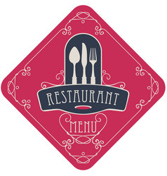 Menu for restaurant with flatware and curlicues vector