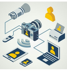 photo camera professional flash working connect vector image vector image