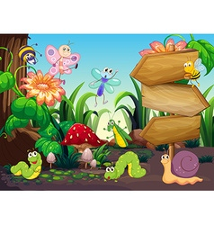 Scene with different types of bugs vector image vector image