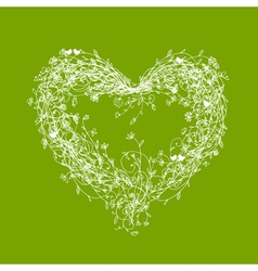 White floral frame heart shape on green vector image vector image