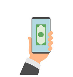 hands holding smartphones with mobile banking app vector image vector image