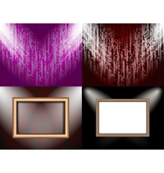 Set of Blank frame on a color wall lighting vector image vector image