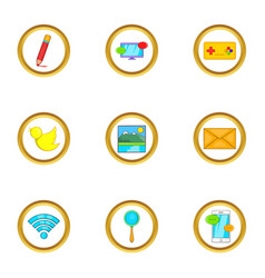 web free time icon set cartoon style vector image vector image