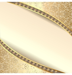 background frame with flowers of silk with gold gl vector image