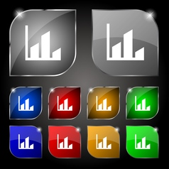 Chart icon sign Set of ten colorful buttons with vector image vector image