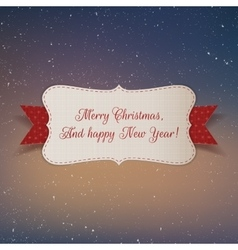 Christmas realistic white paper Label with Ribbon vector image vector image