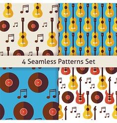 Four Flat Seamless Music Instrument Guitar Musical vector image
