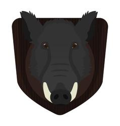 Hunting trophy Wild boar head on wood shield vector image