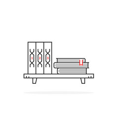 simple black thin line book shelf on white vector image