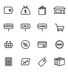 thin line icons - shop vector image
