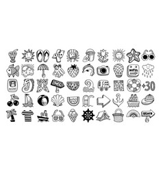 50 sketch icon set of summer vector image