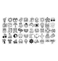 50 sketch icon set summer vector image
