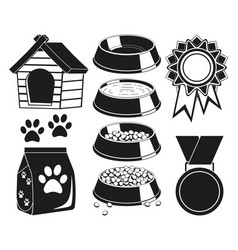 9 black and white cat care elements silhouette set vector image