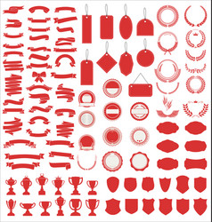 a red collection various black ribbons tags vector image
