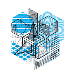 Abstract background with isometric lines vector