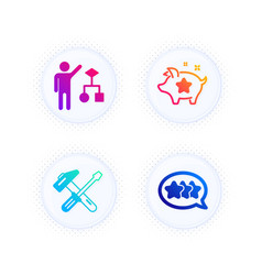Algorithm hammer tool and loyalty points icons vector