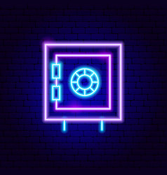 bank safe neon sign vector image