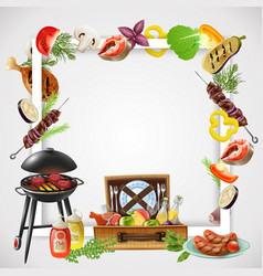 Bbq realistic frame vector