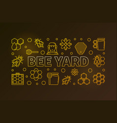 Bee yard colored horizontal banner or vector