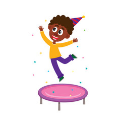 Black boy jumping on trampoline at birthday party vector