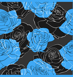 blue frozen rose flower bouquets contour elements vector image
