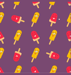 Bright pattern with funny smiling ice-cream vector