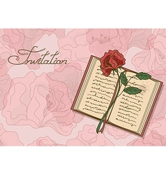 Card or invitation with book and rose flower vector