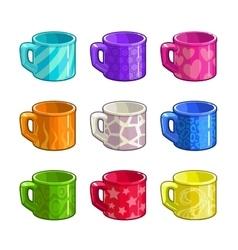 Cartoon colorful bright tea cup icons vector