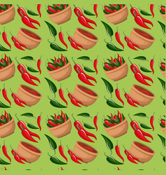 Chili peppers and bowl pattern in green background vector