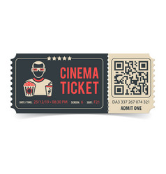 Cinema ticket with qr code vector