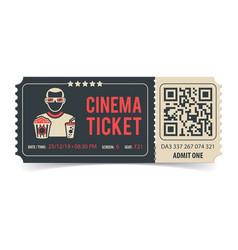 cinema ticket with qr code vector image