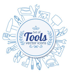 circle shape template with repair tools icons vector image