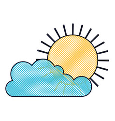 Cloud and sun flat icon in colored crayon vector