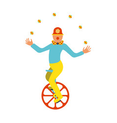 Clown juggler on a unicycle icon vector